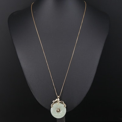 14K Jadeite Bi Pendant Necklace with Floral Motif