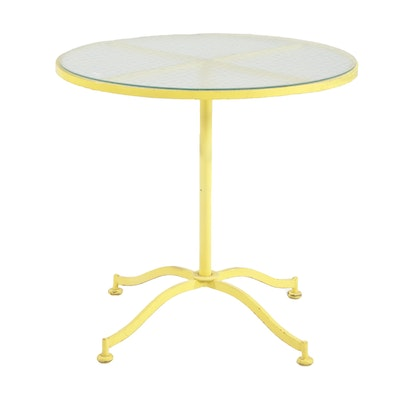 Yellow Painted Metal Patio Bistro Table with Glass Top, Mid 20th Century