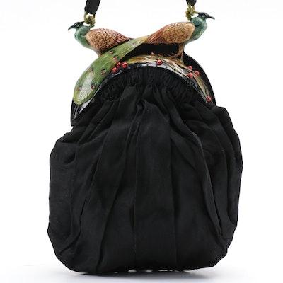 Art Nouveau Peacock Adorned Black Silk Evening Bag