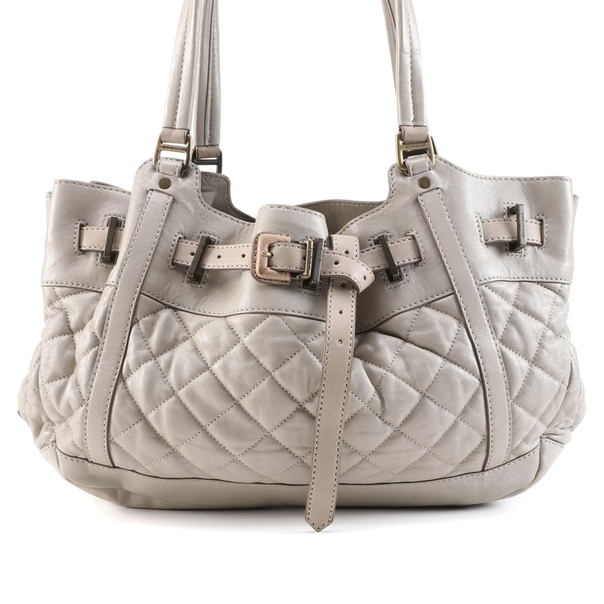 Burberry Enmore Quilted Taupe Gray Leather Shoulder Bag