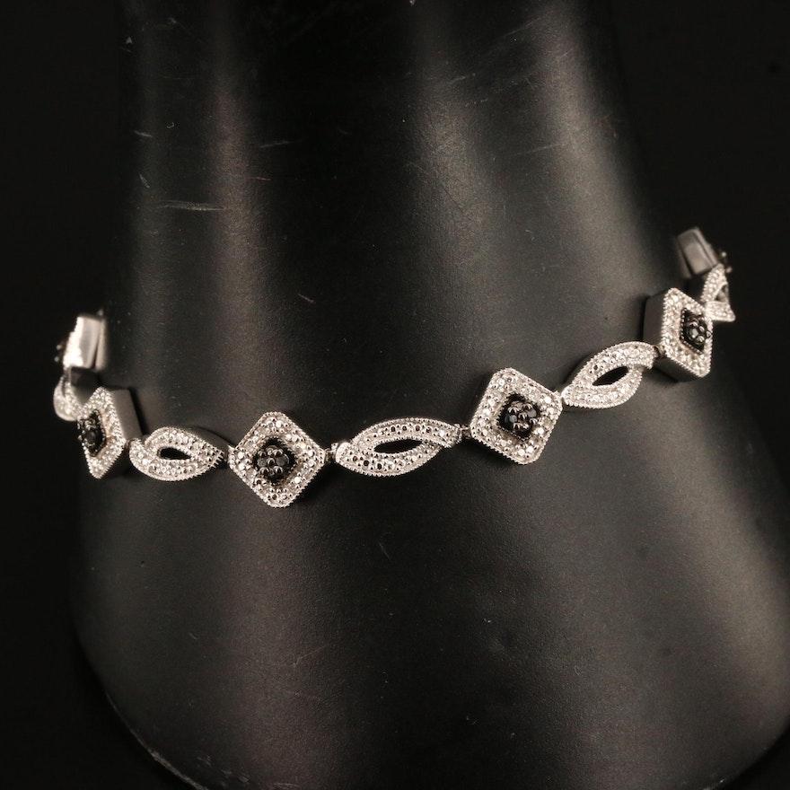 Sterling Silver Diamond Link Bracelet