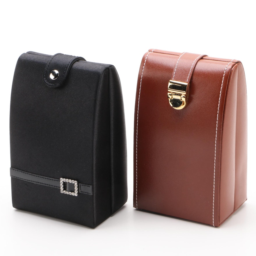 Jeun Bang Travel Faux Leather and Fabric Jewelry Cases