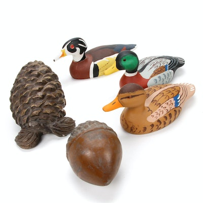Austin Sculpture Pine Cone, Duck Decoy and Acorn Figurines