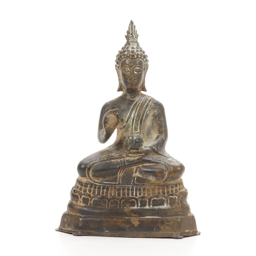 Thai Seated Buddha Bronze Figurine