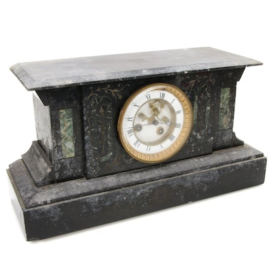 Slate Mantel Clock, Antique