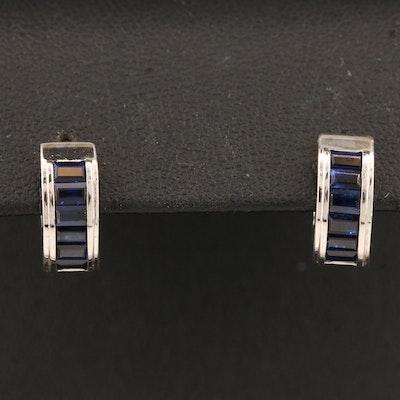 14K Sapphire Huggie Earrings