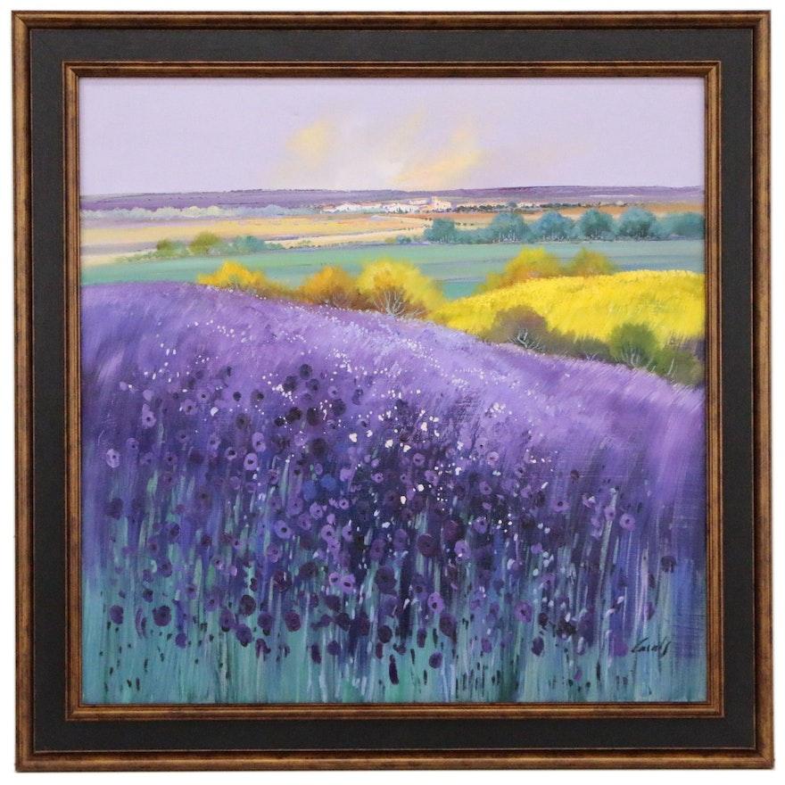 Casals Landscape Oil Painting of Flower Field, 21st Century