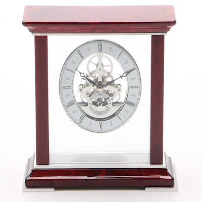 Wood and Glass Mantel Clock with Visible Gears