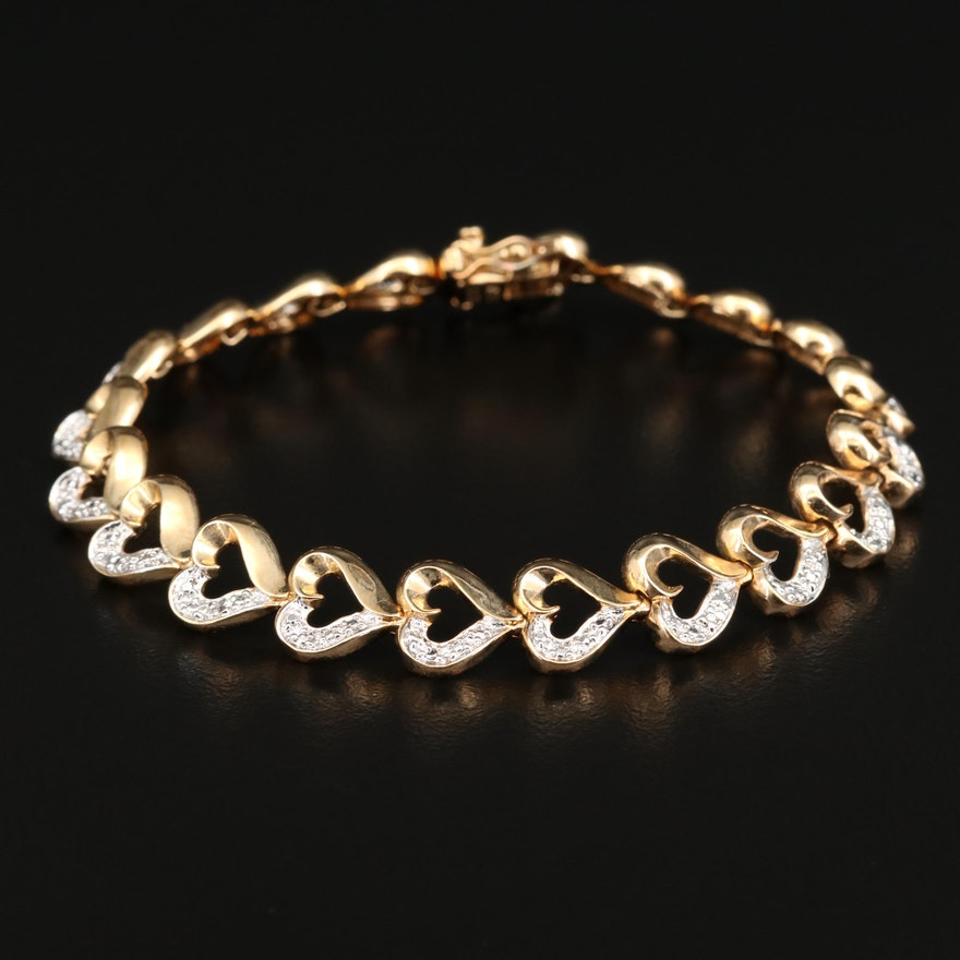 Sterling Silver Diamond Heart Link Bracelet