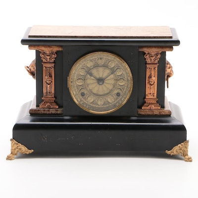 Seth Thomas Adamantine and Metal-Mounted Mantel Clock, Late 19th Century