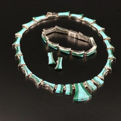 Oscar Figueroa Escorcia Mexican Modernist Malachite and Turquoise Jewelry Set