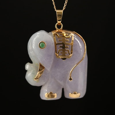 Asian 14K Carved Elephant Necklace