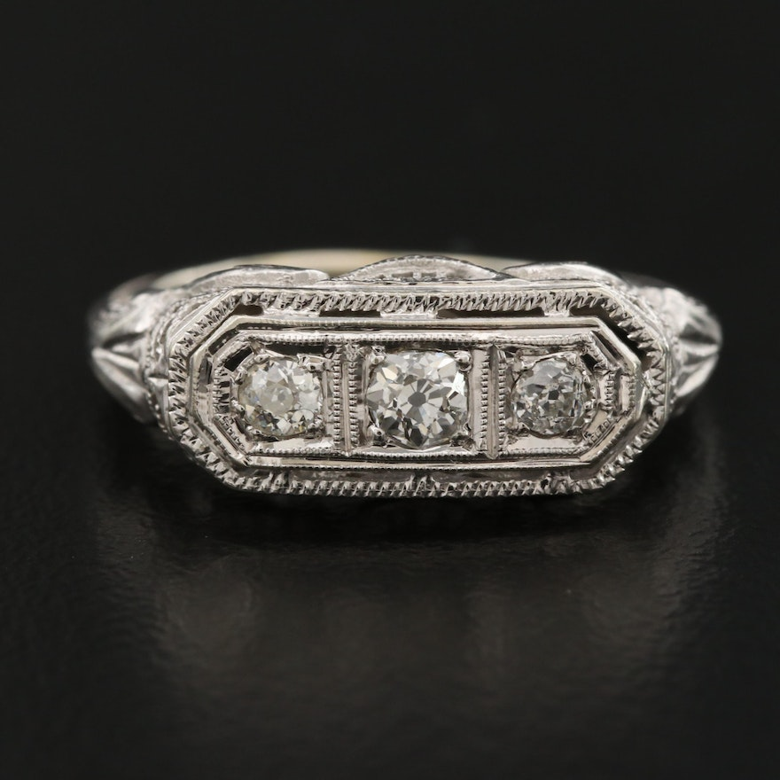 Edwardian 18K Diamond Filigree Ring