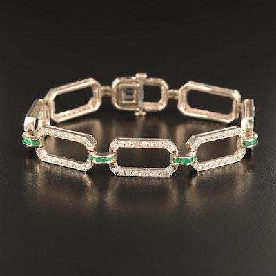 Art Deco 14K 2.13 CTW Diamond and Emerald Link Bracelet