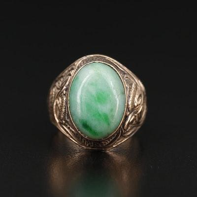 Vintage 10K Jadeite Ring Featuring Etched Design