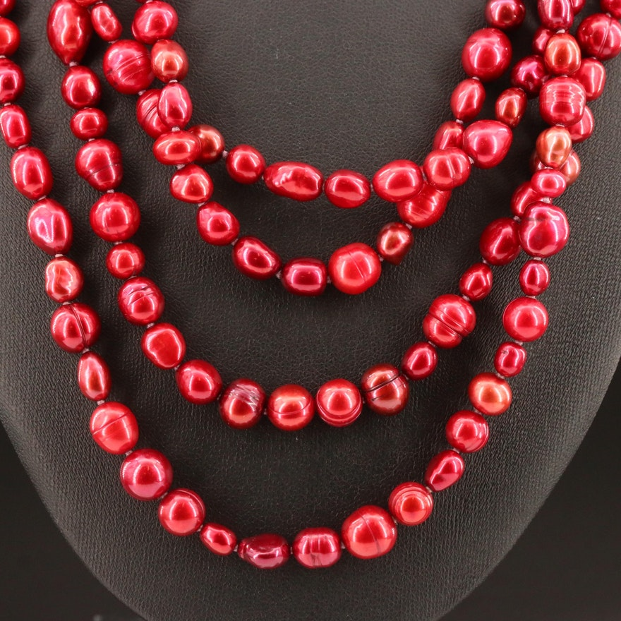 Endless Knotted Beaded Pearl Necklace Attributed to Honora and Pouch