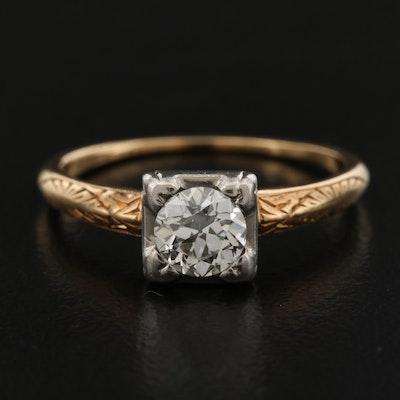 1930s Byard F. Brogan 14K 0.40 CT Diamond Solitaire Ring with Palladium Top
