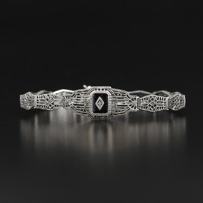 Art Deco Vintage Brand Sterling Diamond and Black Onyx Openwork Panel Bracelet