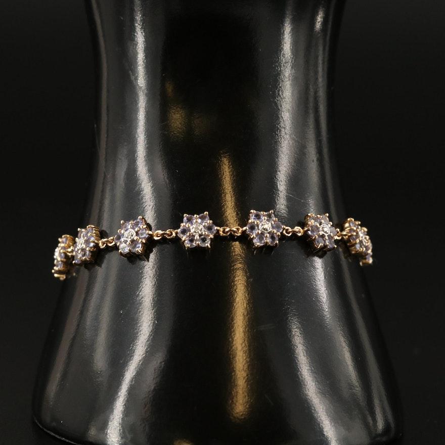 14K Tanzanite and Diamond Flower Link Bracelet