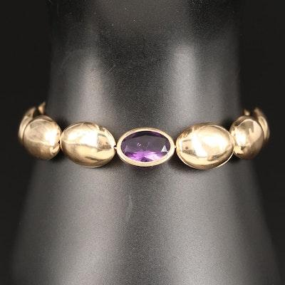 14K Hollow Form Amethyst Bracelet