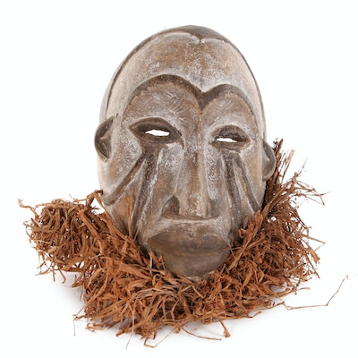 West African Style Hand-Carved Mask with Raffia, 20th Century