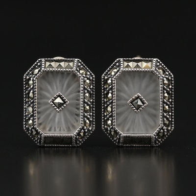 Judith Jack Sterling Camphor Glass and Marcasite Button Earrings