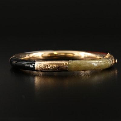 14K Jadeite and Black Onyx Engraved Hinged Bangle