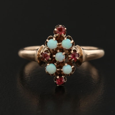 Victorian 10K Opal and Tourmaline Ring