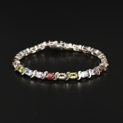 Sterling Multicolored Gemstone Bracelet with Garnet, Topaz and Peridot