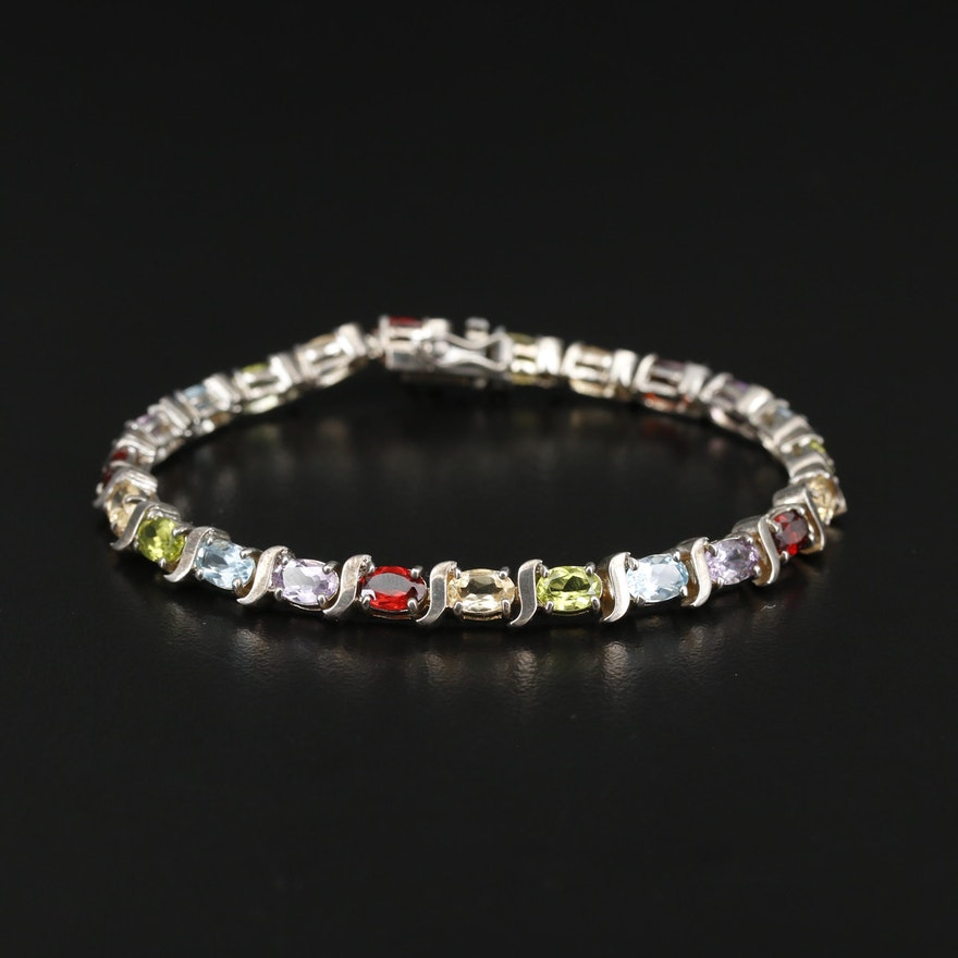 Sterling Multicolored Gemstone Bracelet with Garnet, Topaz and Peridot