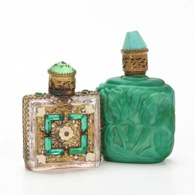 Ormolu Enameled and Malachite Glass Perfume Bottles, Vintage