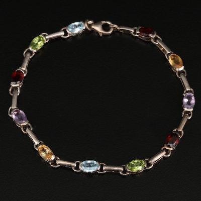 Sterling Silver Garnet, Amethyst and Peridot Line Bracelet