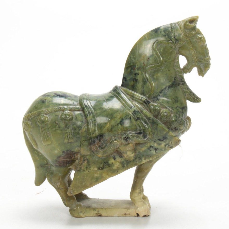 Chinese Carved Zoisite Horse Figurine