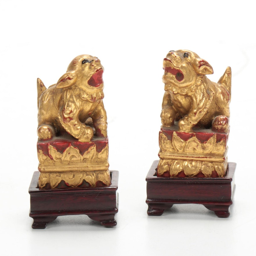 Chinese Wood Carved Guardian Lions with Stands