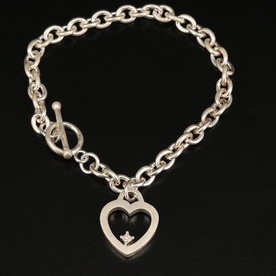 Sterling Diamond Heart Bracelet