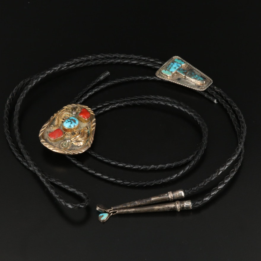 Southwestern Style Sterling Silver Turquoise and Coral Bolo Ties