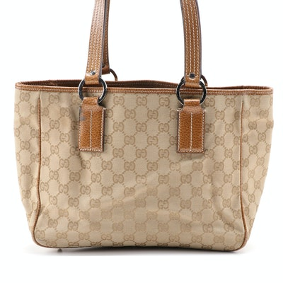 Gucci GG Canvas and Tan Leather Small Tote Bag