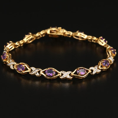 Sterling Amethyst and Diamond Line Bracelet