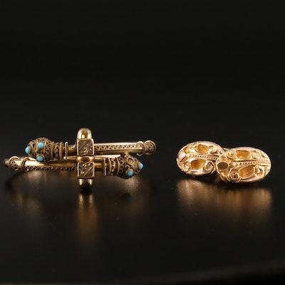 Victorian Etruscan Revival Glass Bypass Bracelet and Scrollwork Cufflinks