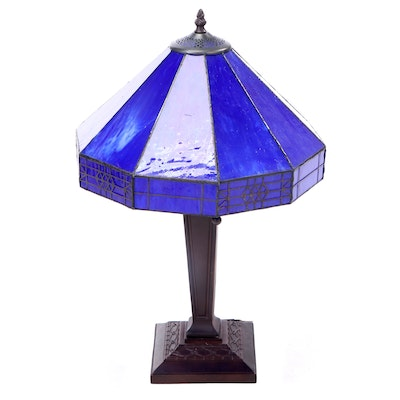 Arts and Crafts Style Metal and Blue Glass Dual Socket Table Lamp