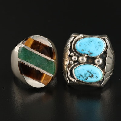 Western Sterling Rings with Tiger's Eye, Aventurine, Quartz and Turquoise