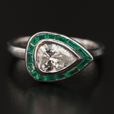 18K 1.00 CT Diamond and Emerald Ring with Euro Style Shank Pear Cut