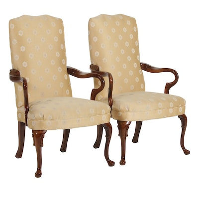Queen Anne Style Upholstered Armchairs