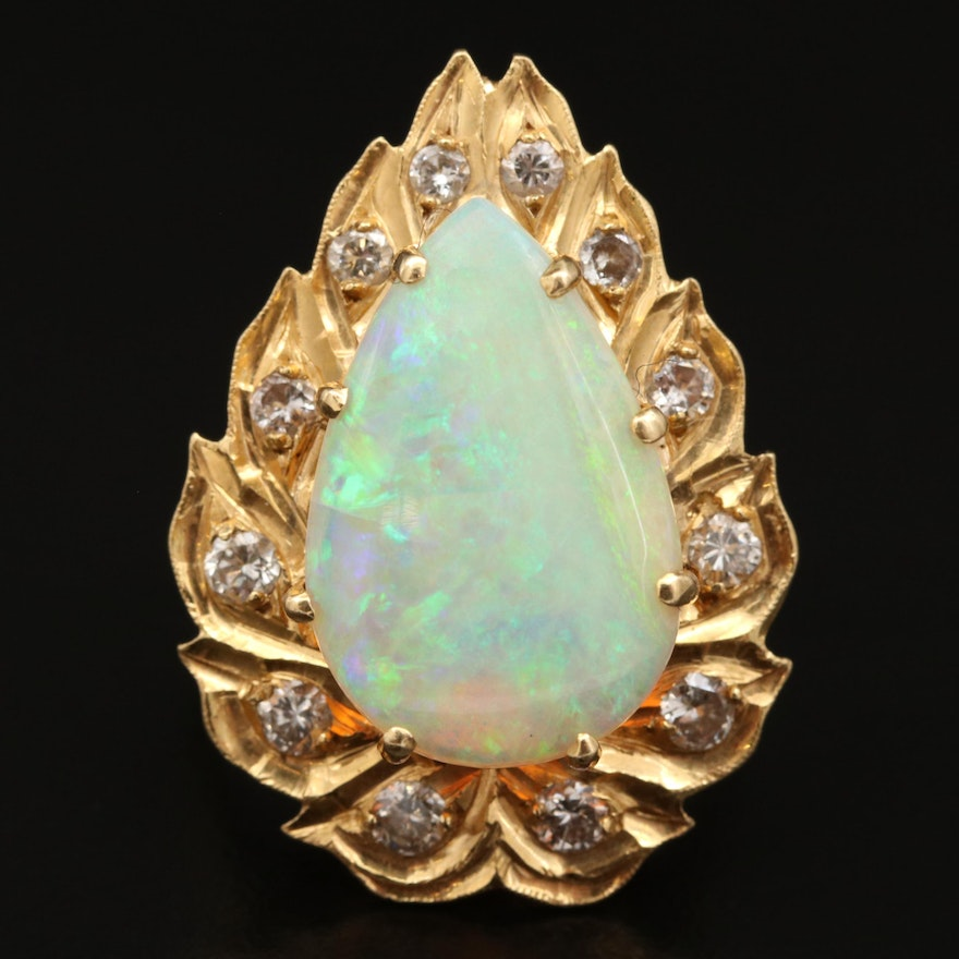 14K Opal and Diamond Enhancer Converter Pendant Ring