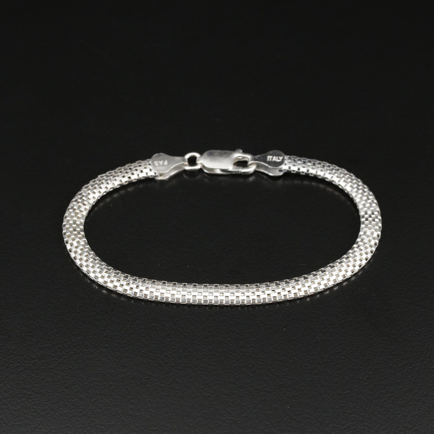 Sterling Woven Box Chain Bracelet