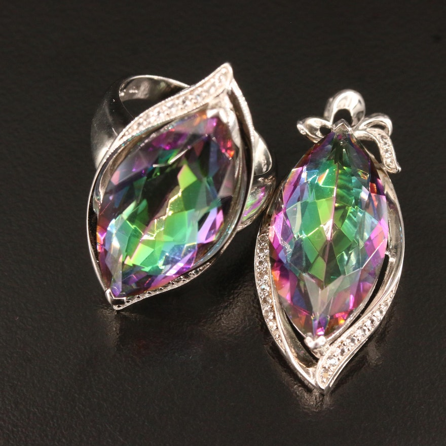 Sterling Quartz and Topaz Pendant and Ring Set