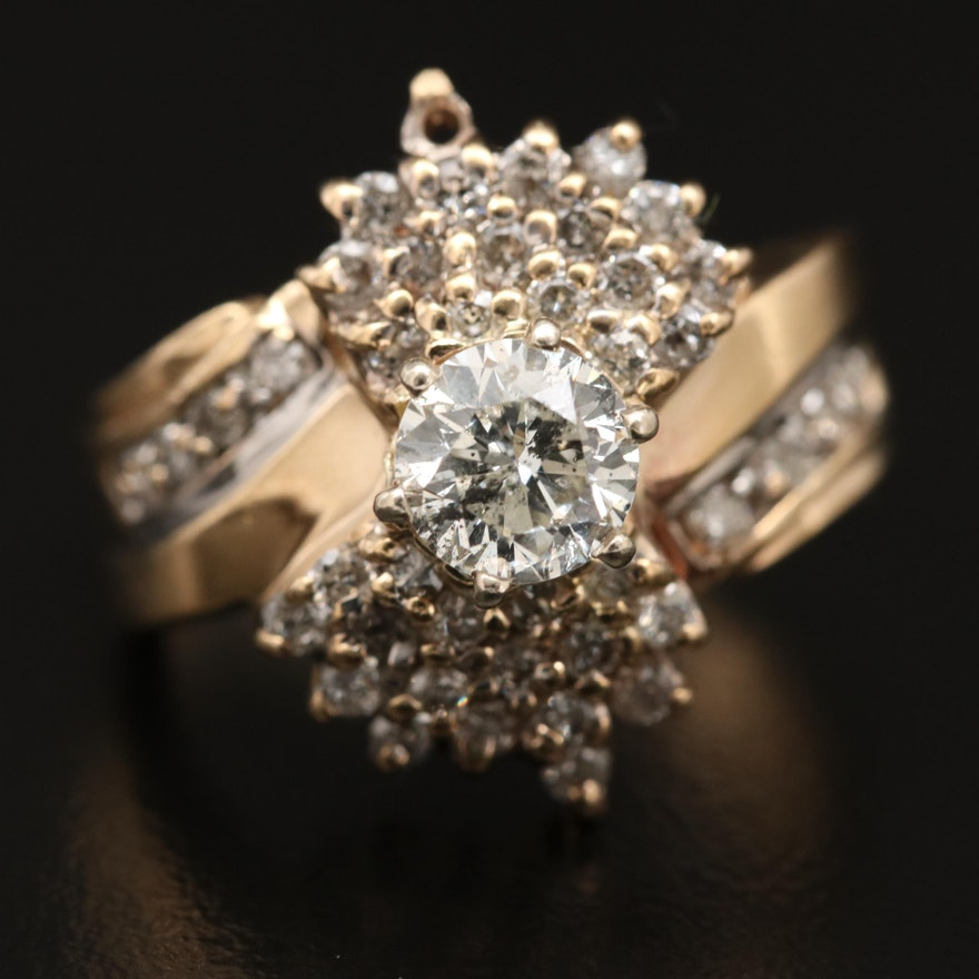 10K 1.37 CTW Diamond Cluster Ring