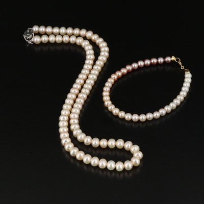 Pearl Beaded Necklace and Bracelet with Sterling and 18K Clasps