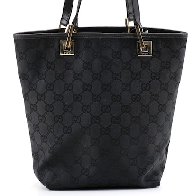 Gucci Small Tote Bag in Black GG Canvas with Leather Trim