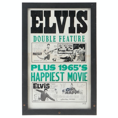 """Elvis Presley """"Double Feature"""" Movie Theater Poster, Framed"""
